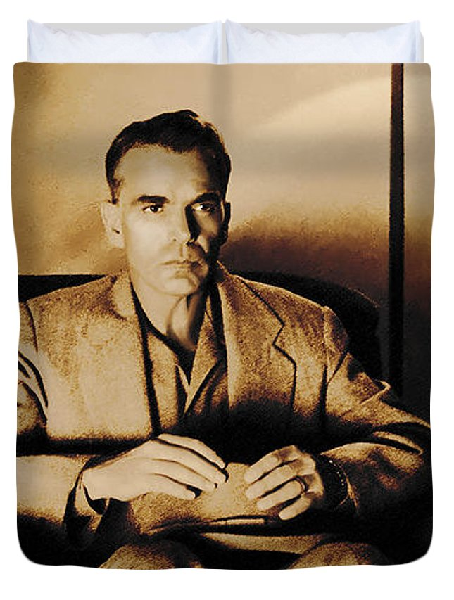 Billy Bob Thornton Duvet Cover featuring the digital art Billy Bob Thornton as Ed Crane in the film The Man Who Wasn t There by Gabriel T Toro