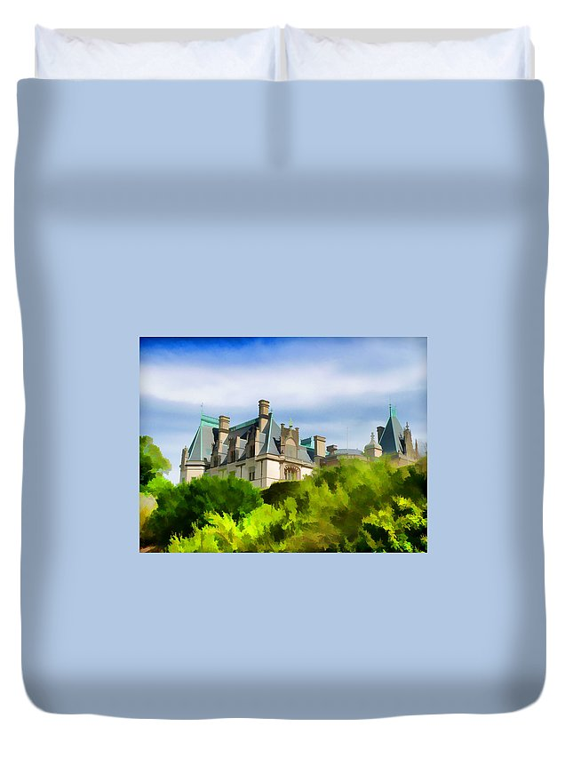 Biltmore Mansion Castle Scenic View Duvet Cover featuring the photograph Biltmore In The Distance by Alice Gipson