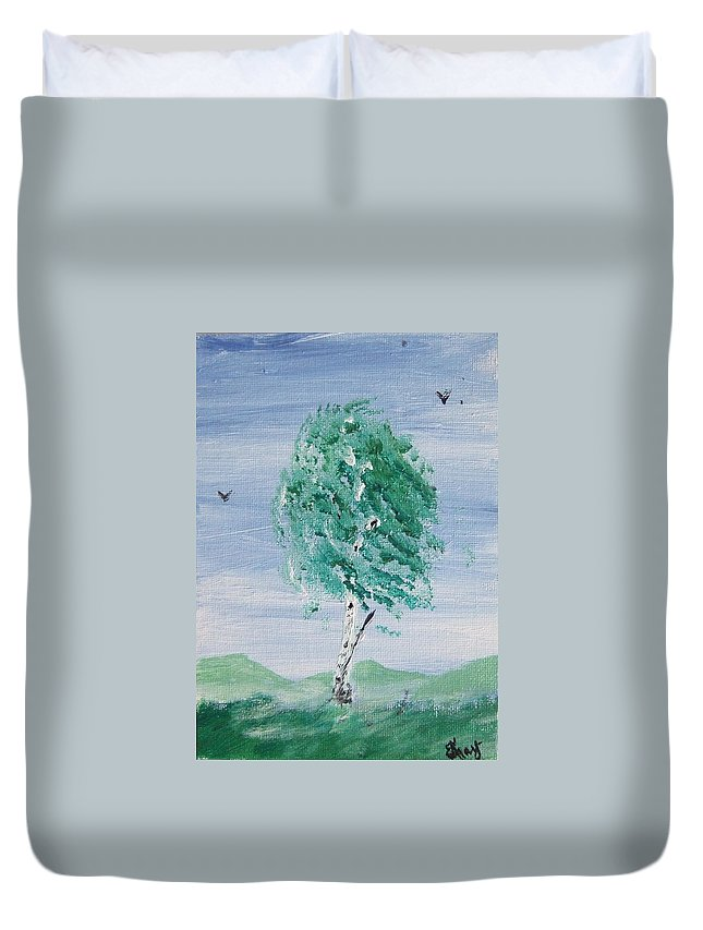 Duvet Cover featuring the painting Birch by Katerina Naumenko