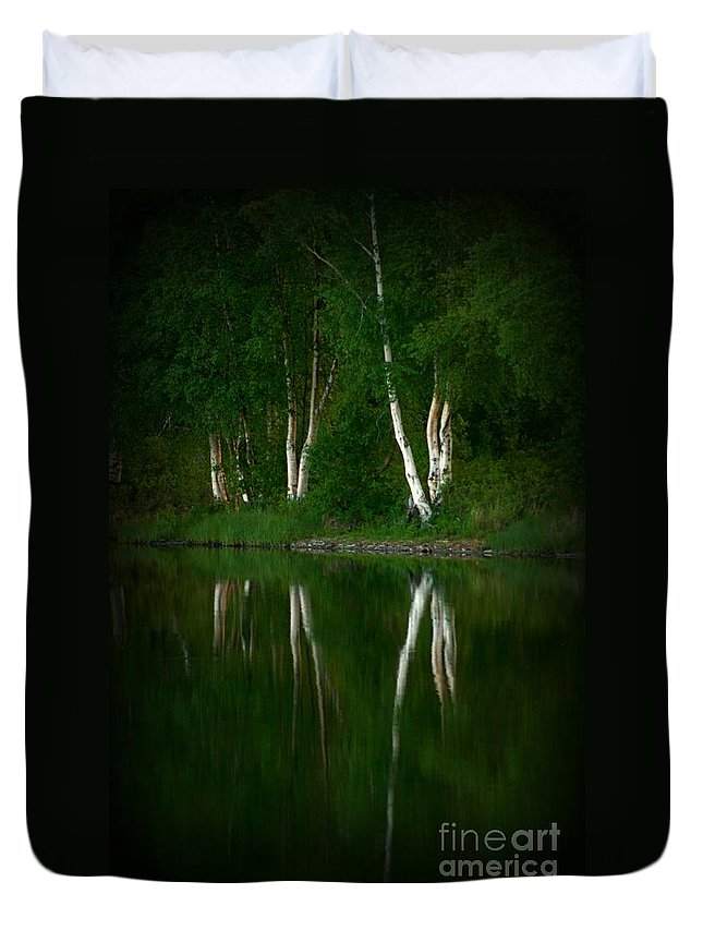 Birch Duvet Cover featuring the photograph Birch Reflection by Rick Monyahan