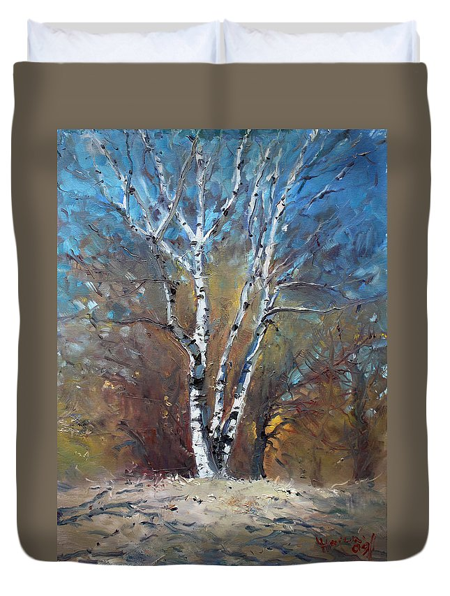 Birch Trees Duvet Cover featuring the painting Birch Trees by Ylli Haruni