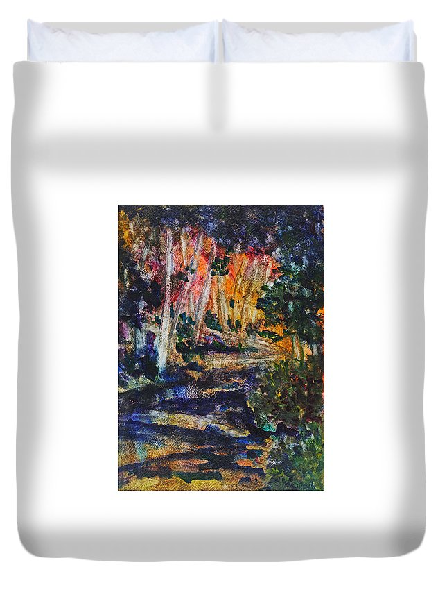 Landscape Duvet Cover featuring the painting Birch Walk by Cathy Hirsh