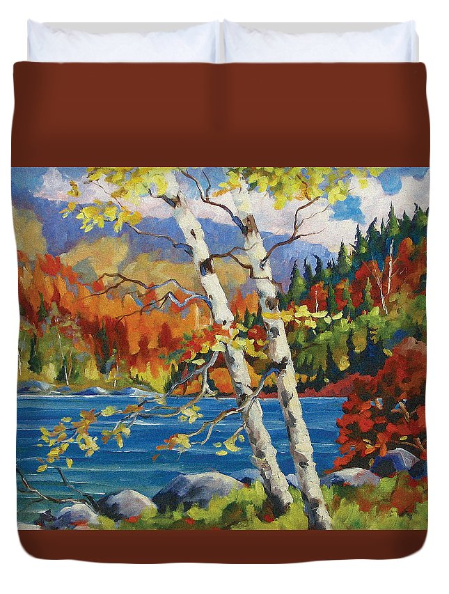Art Duvet Cover featuring the painting Birches By The Lake by Richard T Pranke