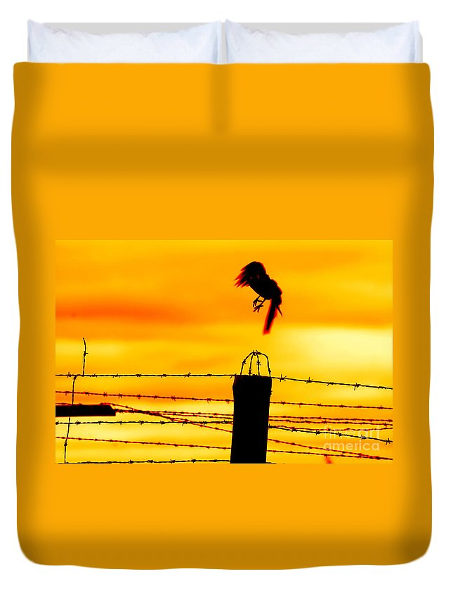 Prison Duvet Cover featuring the photograph Bird Flying Off From Prison Fence by Michal Bednarek