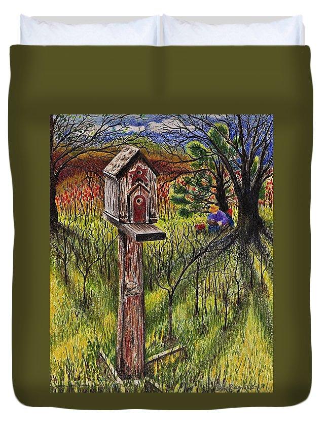 Bird House Duvet Cover featuring the drawing Bird House by Joy Bradley
