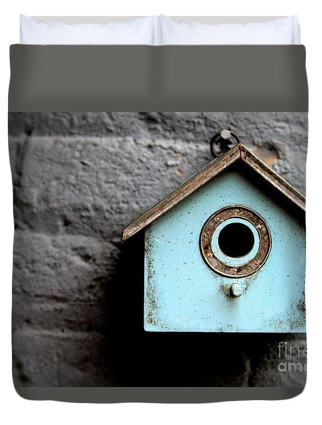 Bird Duvet Cover featuring the photograph Bird House Of Blue By Diana Sainz by Diana Raquel Sainz