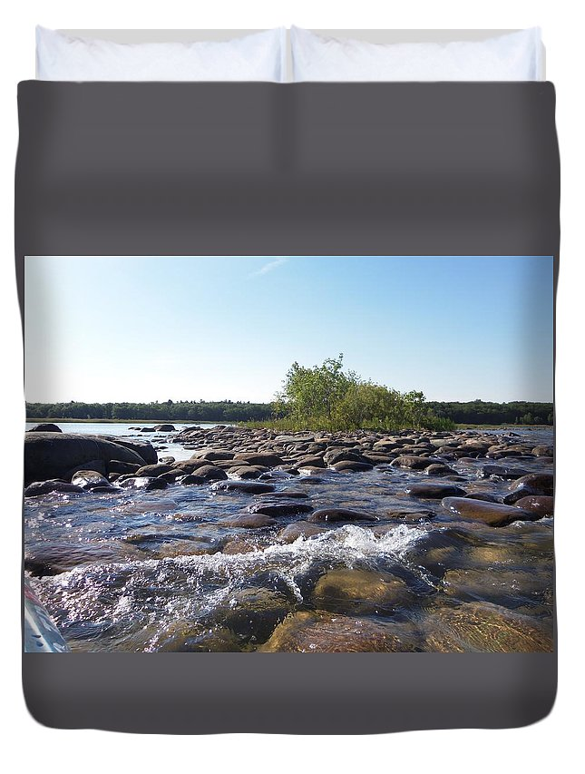 Port Austin Duvet Cover featuring the photograph Bird Island by Two Bridges North
