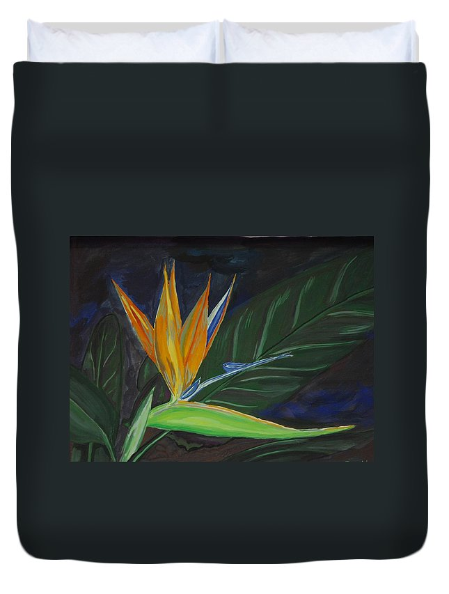 Bird-of-paradise Duvet Cover featuring the painting Bird Of Paradise by Prasida Yerra
