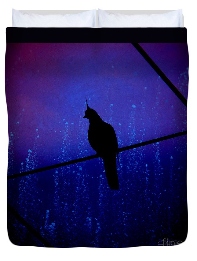 Midnight Duvet Cover featuring the photograph Bird On The Wire ... by Chris Armytage