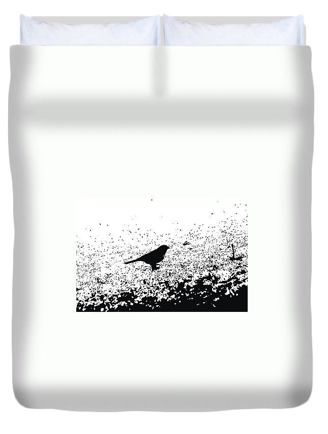 Black And White Bird Duvet Cover featuring the photograph Bird Shadow by Katherine Townsend