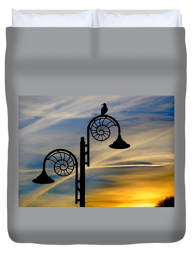 Sunset Duvet Cover featuring the painting Bird Watching The Sunset by Bruce Nutting