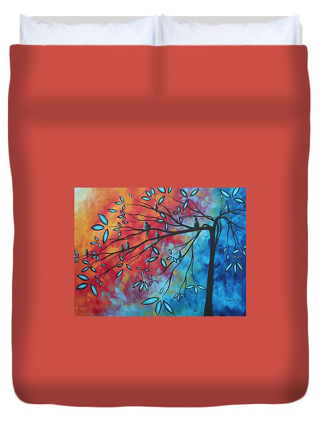 Art Duvet Cover featuring the painting Birds And Blossoms By Madart by Megan Duncanson
