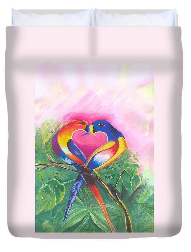 Love Duvet Cover featuring the painting Birds In Love 02 by Emmanuel Baliyanga