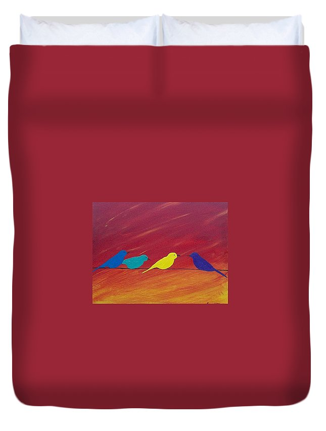 Birds Duvet Cover featuring the painting Birds On A Wire by Thomas Whitlock