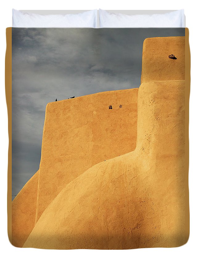 Built Structure Duvet Cover featuring the photograph Birds Perched On A Yellow Building by Win-initiative