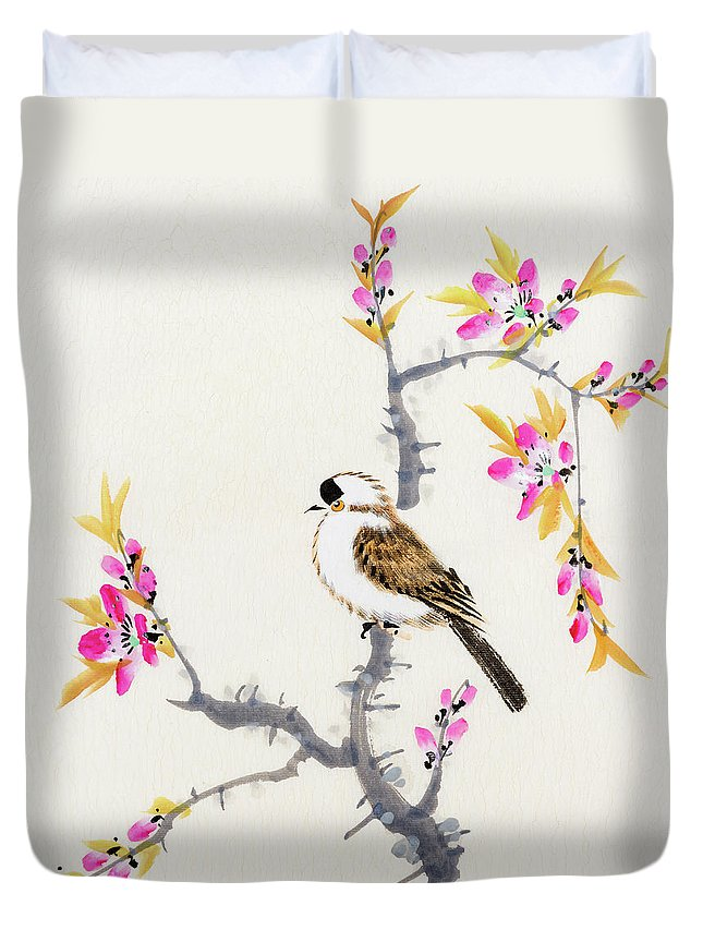 Chinese Culture Duvet Cover featuring the digital art Birds by Vii-photo