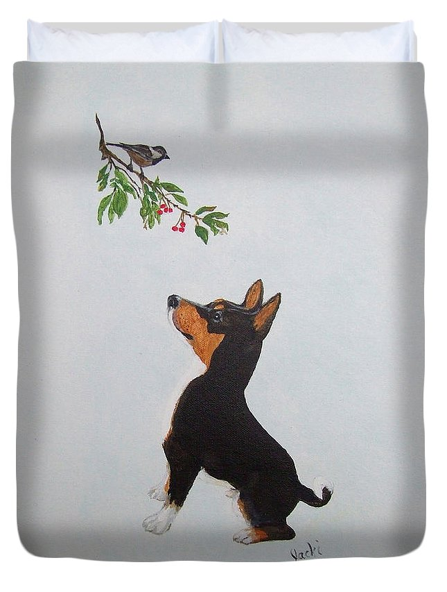 Basenji Duvet Cover featuring the painting Birdwatching by Jacki McGovern