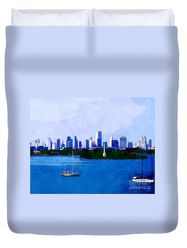 Biscayne Bay Duvet Cover featuring the digital art Biscayne Bay by Phil Perkins