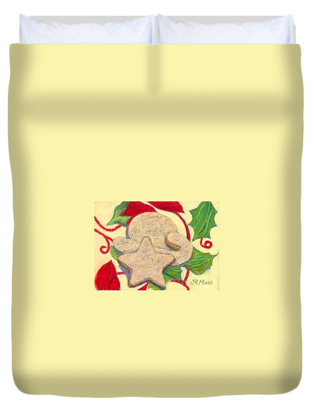 Traditional New Mexico State Cookie Duvet Cover featuring the pastel Biscochitos-nm State Cookie by Julie Maas