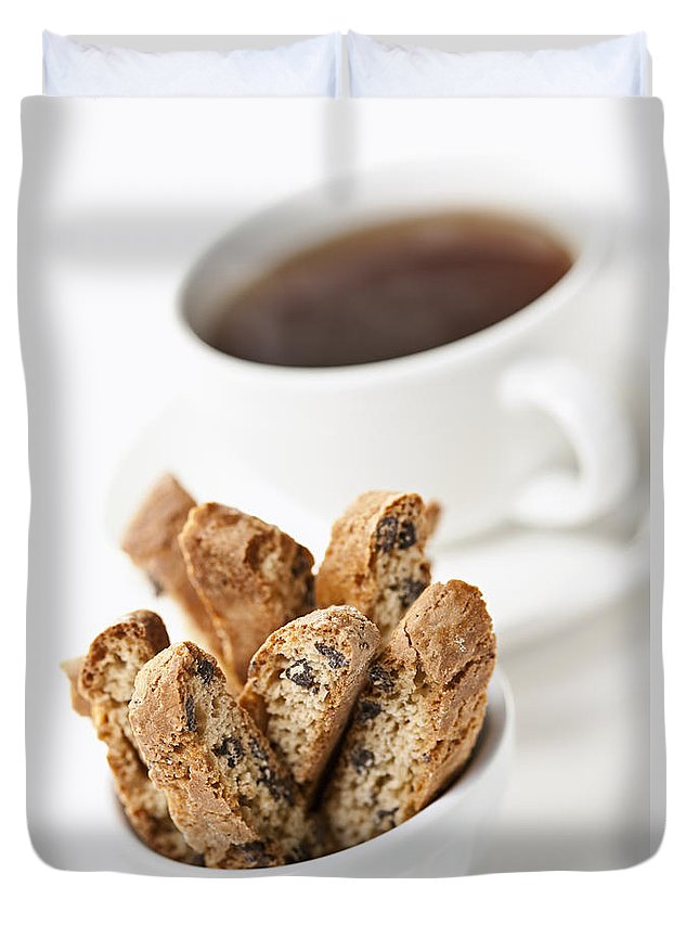 Biscotti Duvet Cover featuring the photograph Biscotti And Coffee by Elena Elisseeva
