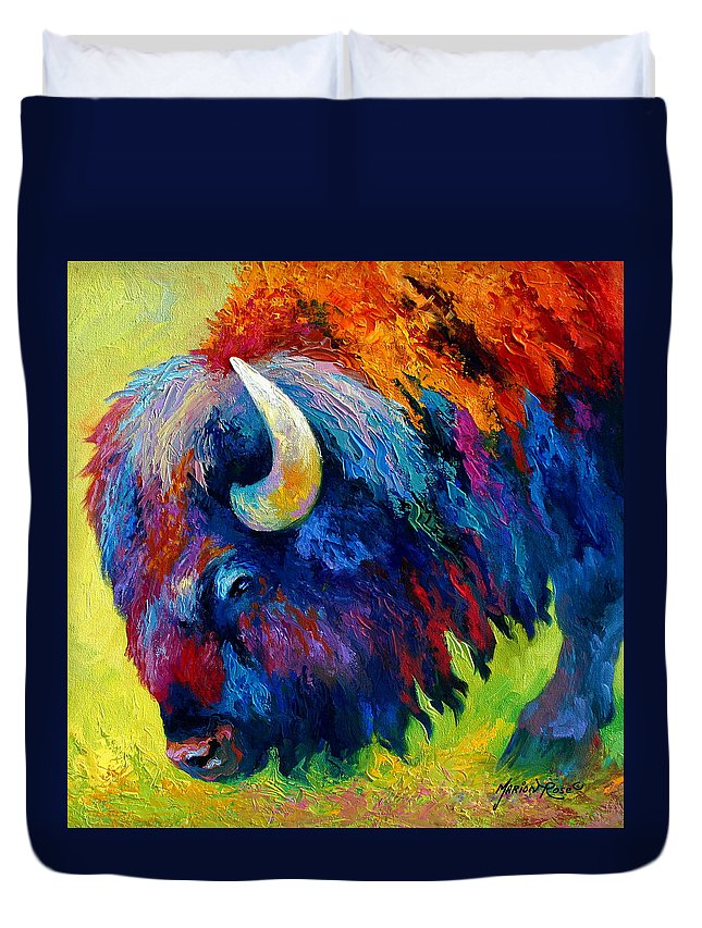 Wildlife Duvet Cover featuring the painting Bison Portrait II by Marion Rose