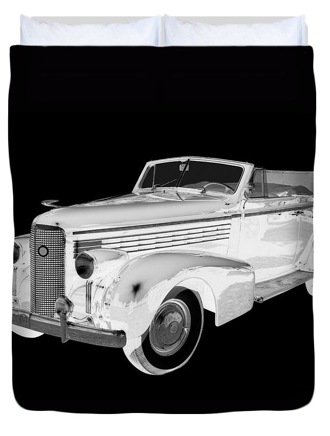 1938 Cadillac Lasalle Duvet Cover featuring the photograph Black An White 1938 Cadillac Lasalle Pop Art by Keith Webber Jr