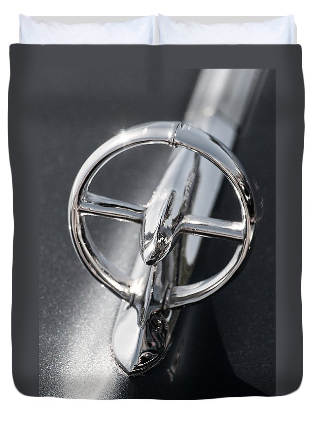 Car Duvet Cover featuring the photograph Black And White Car Logo by Don Johnson