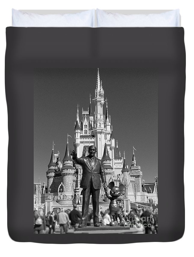 Statue Duvet Cover featuring the photograph Black And White Disney And Mickey by Kevin Fortier