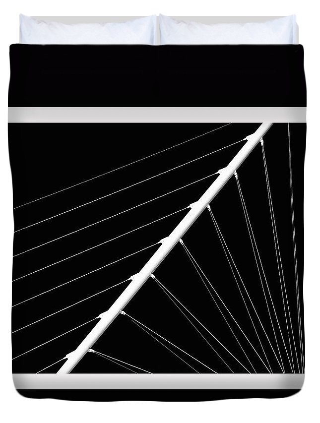 #black And White Duvet Cover featuring the photograph Black And White Lines by Debbie Nobile