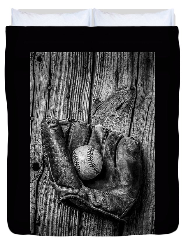 Black Duvet Cover featuring the photograph Black and White Mitt by Garry Gay