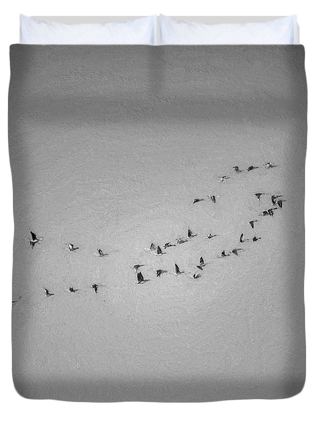 Black And White Duvet Cover featuring the photograph Black And White Monochrome Artistic Painterly On The Way To Summer Stretch Of Geese Moving North by Leif Sohlman