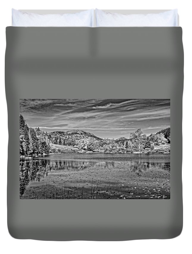 Maine Duvet Cover featuring the photograph Black And White Photo Of Long Pond Acadia National Park Maine by Keith Webber Jr