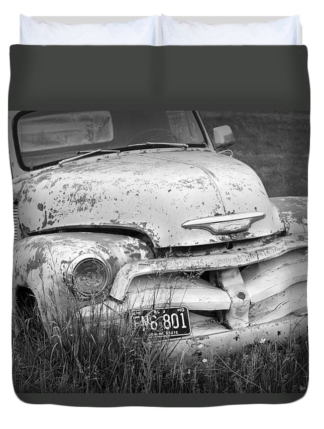 Art Duvet Cover featuring the photograph Black And White Photograph A Vintage Junk Chevy Pickup Truck by Randall Nyhof