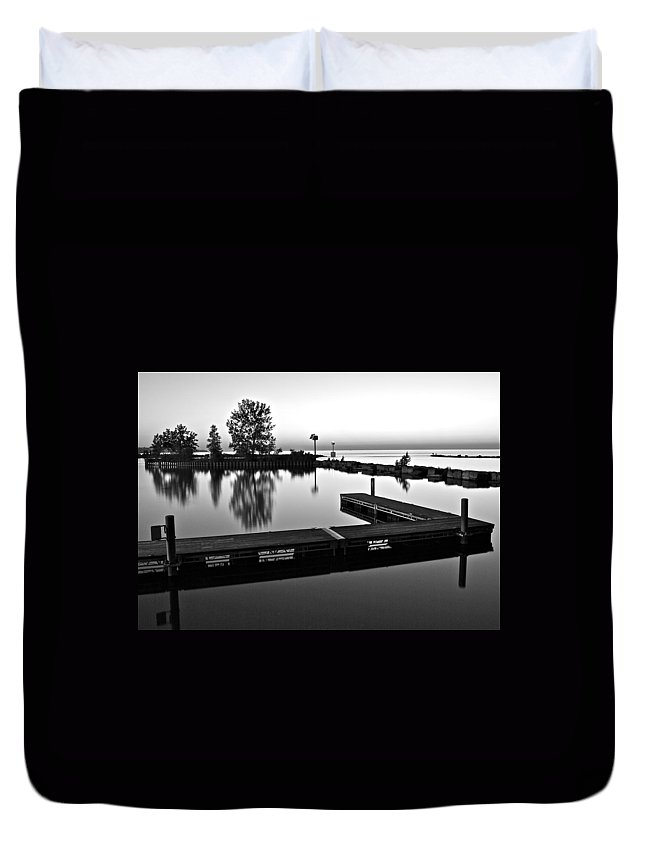 Black And White Duvet Cover featuring the photograph Black And White Sunset by Frozen in Time Fine Art Photography