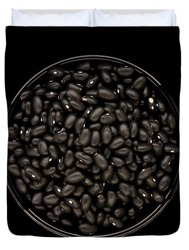 Bowl Duvet Cover featuring the photograph Black Beans In Bowl by Bailey Cooper