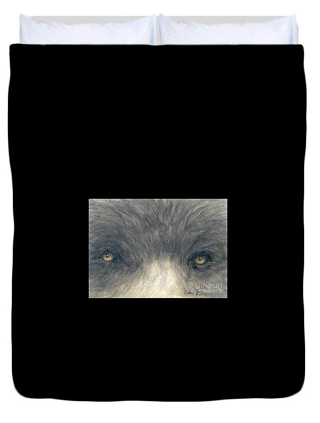 Black Duvet Cover featuring the painting Black Bear Eyes Wildlife Animal Art by Cathy Peek