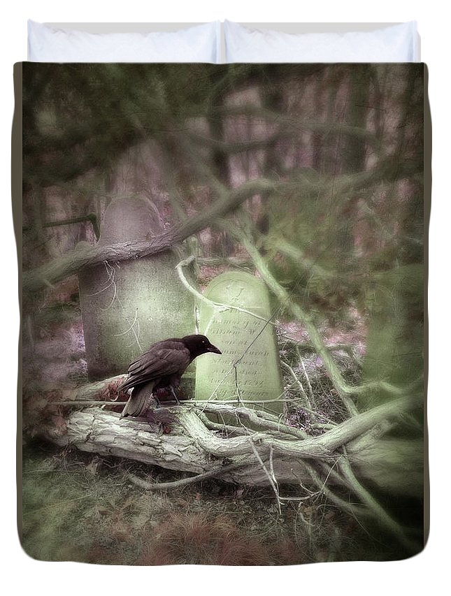 Tombstone Duvet Cover featuring the photograph Black Bird In Forgotten Graveyard by Jill Battaglia