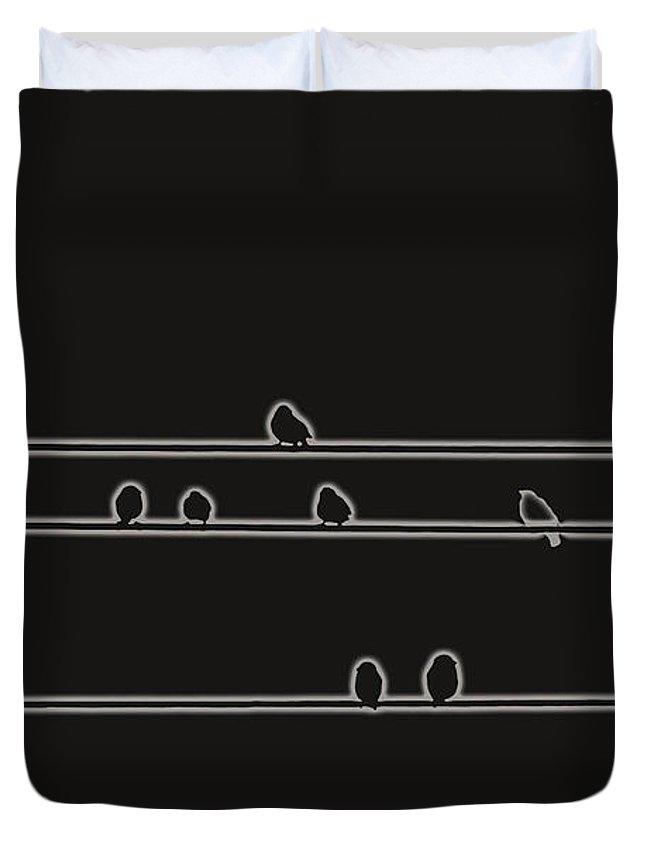 Bird Duvet Cover featuring the digital art Black Birds by Hannah Breidenbach