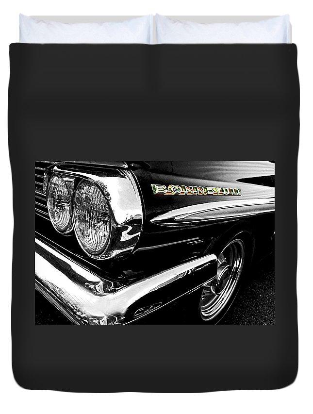 Classic Cars Duvet Cover featuring the photograph Black Bonneville by Kristie Bonnewell