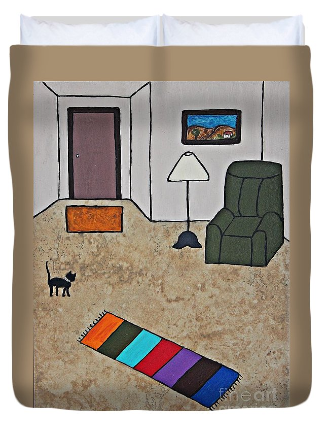 Folk Art Duvet Cover featuring the painting Essence Of Home - Black Cat In Living Room by Sheryl Young