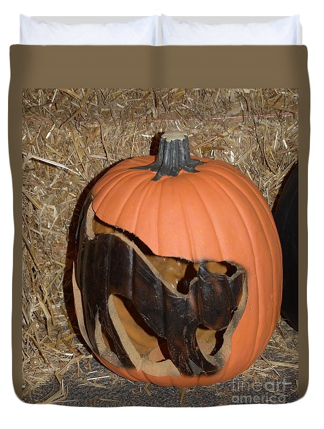 #autum #fall Duvet Cover featuring the photograph Black Cat On Pumpkin by Kathleen Struckle