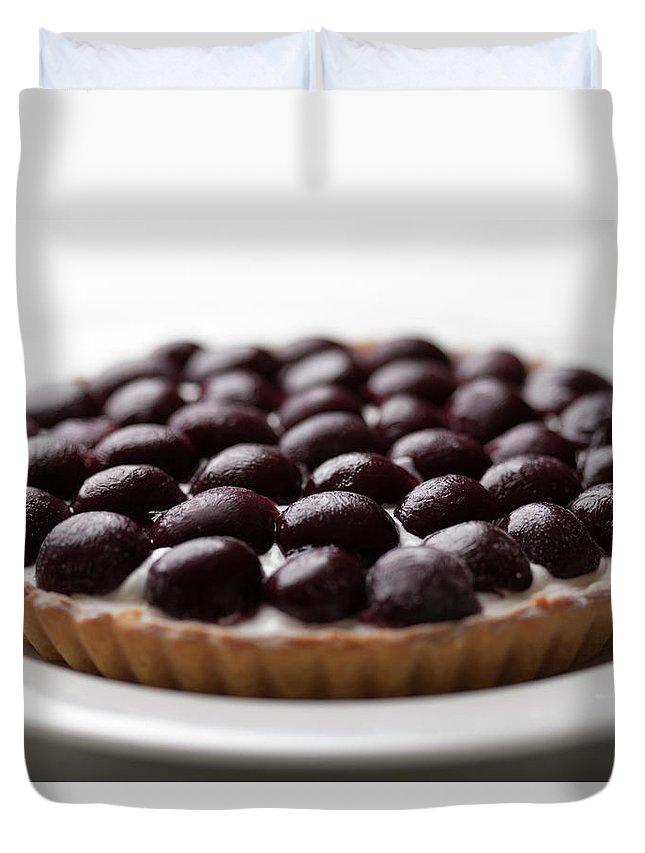 Cherry Duvet Cover featuring the photograph Black Cherry Tart Studio Shot by Kazuhiro Tanda