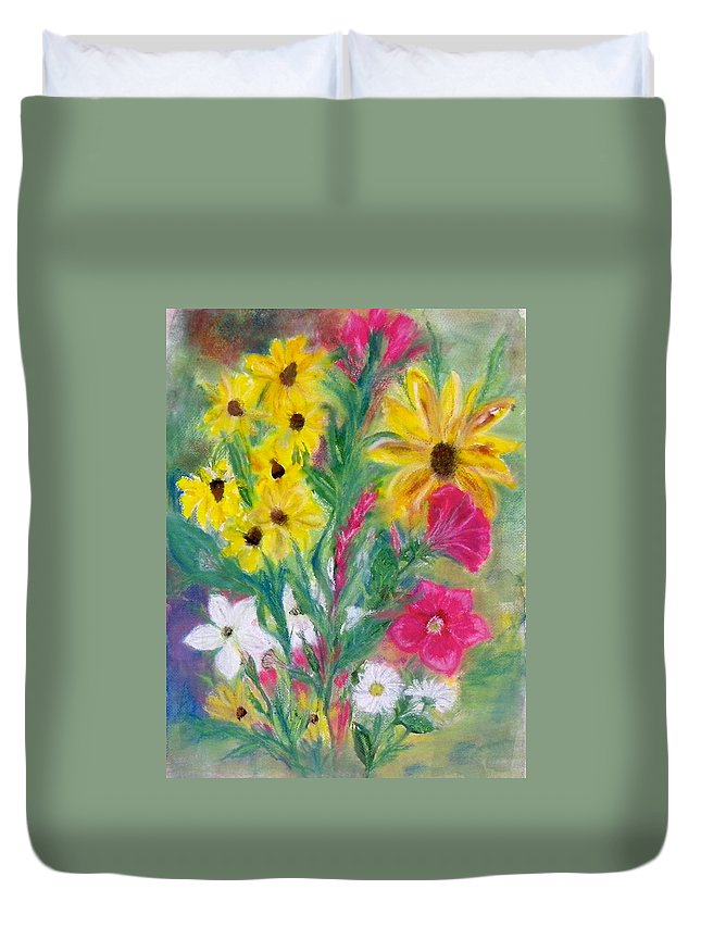 Duvet Cover featuring the painting Black Eyed Susan by Anna Ruzsan