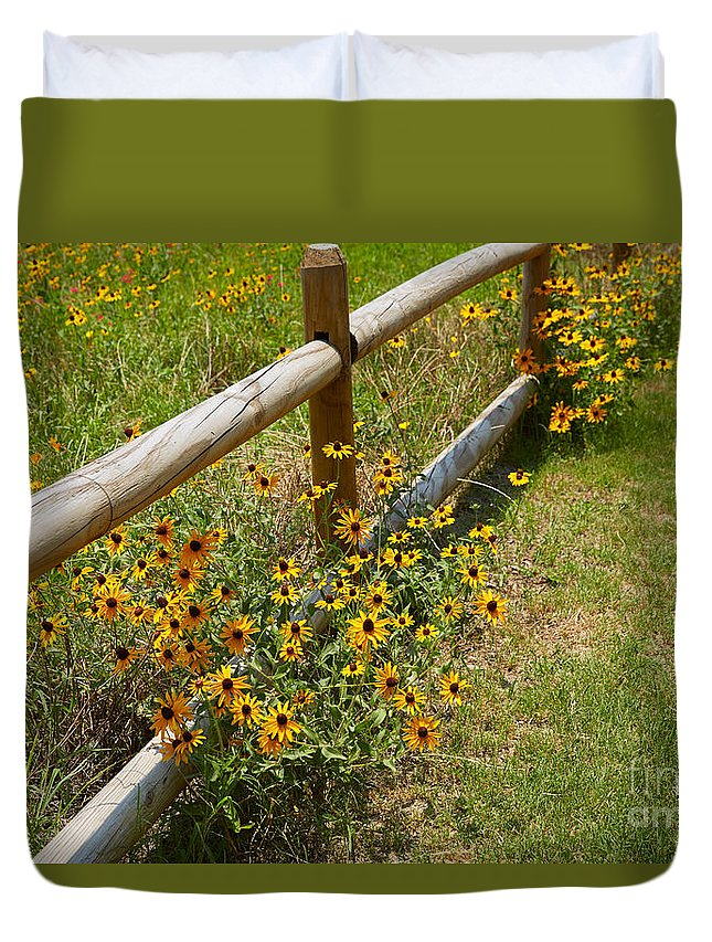 Rudbeckia Hirta Duvet Cover featuring the photograph Black Eyed Susans In A Wildflower Meadow by Louise Heusinkveld