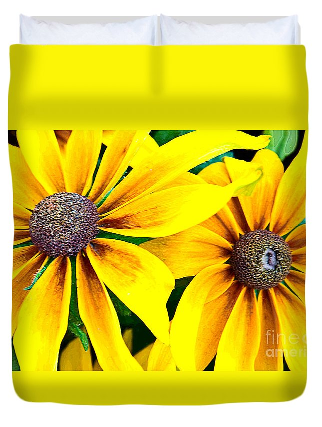 Black-eyed Susan Duvet Cover featuring the photograph Black-eyed Susans by Regina Geoghan