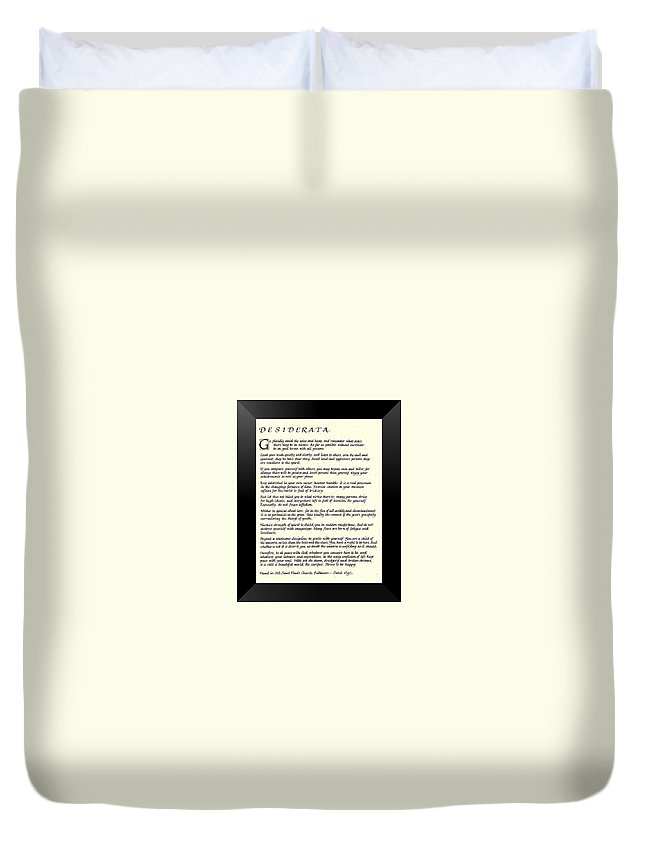Desiderata Duvet Cover featuring the mixed media Black Frame Original Desiderata Poem by Desiderata Gallery