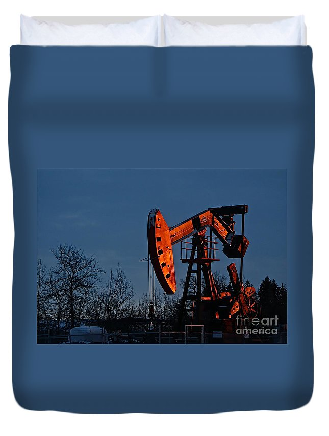 Alberta Duvet Cover featuring the photograph Black Gold by Linda Bianic