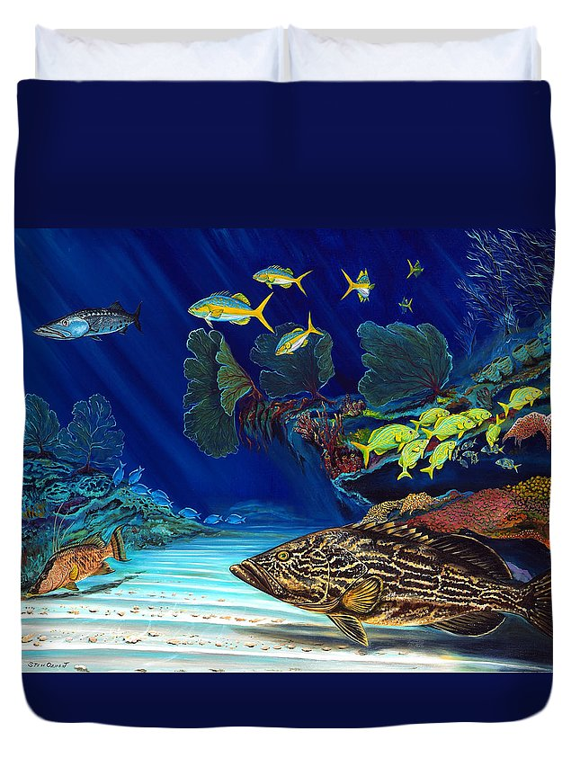 Grouper Duvet Cover featuring the painting Black Grouper Reef by Steve Ozment