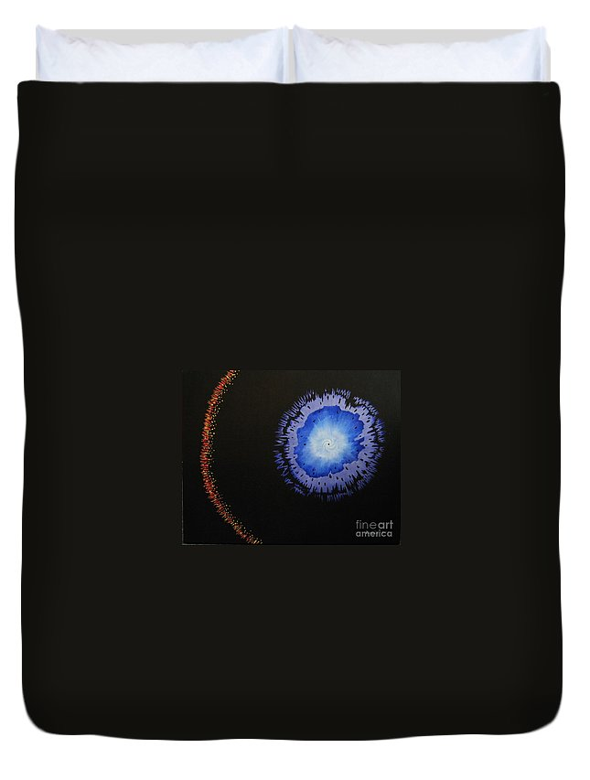 Space Duvet Cover featuring the painting Black Hole by Lori Ziemba