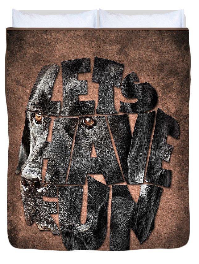 Black Labrador Typography Duvet Cover featuring the painting Black Labrador Typography Artwork by Georgeta Blanaru